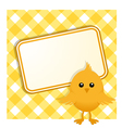 easter chick and sign on gingham vector image