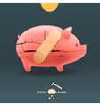 Piggy breaking moneybox with coin and stuck a vector image