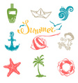 set of bright summer and travel symbols vector image