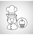 cartoon chef gourmet sweet cup cake vector image