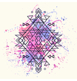 decorative ethnic pattern with watercolor splash vector image