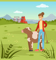 farmer woman standing wiyh cow agriculture and vector image