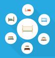 flat mattress set of bearings cot bedroom and vector image