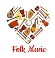 Folk music heart emblem of musical instruments vector image