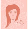 girl face portrait on rose background - vector image