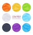 Set of the colored low poly backgrounds vector image
