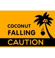 Warning Sign Coconut falling vector image