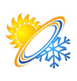 sun and snowflake for air conditioning vector image vector image