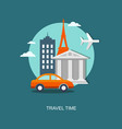 flat travel banner with urban landscape vector image
