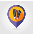 Flippers flat mapping pin icon with long shadow vector image