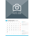 February 2016 Wall Monthly Calendar for 2016 Year vector image