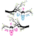 baby boy and girl clothes with birds on tree vector image