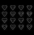 emoticons doodle hearts black 3 vector image