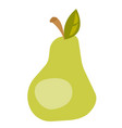 green pear with leaf cartoon vector image