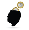 man head as a piggy bank vector image