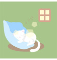 white cat sleeps or naps or rests vector image