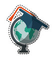 world planet with hat graduation school supply vector image