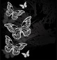 border with chalk butterflies vector image