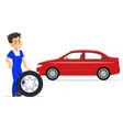 cartoon worker on replacement tires wheels vector image