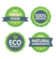 modern green eco badge set 100 percent organic vector image