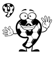 Cartoon number 9 with soccer pattern vector image