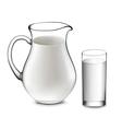 milk jug and glass of milk vector image vector image
