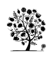 Abstract floral tree silhouette for your design vector image