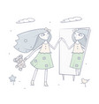 happy young girl standing in front of a mirror vector image