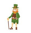 st patricks day leprechaun man character cartoon vector image