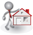 Realtor and red house vector image vector image