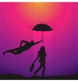 Man is protecting a women with umbrella vector image vector image