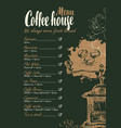 coffee menu with price list and coffee grinder vector image vector image