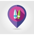 Surfboard flat mapping pin icon with long shadow vector image