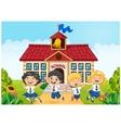 Happy school kids in front of school bilding vector image