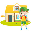 boy and yellow house vector image