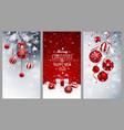 christmas banners set with fir branches red balls vector image