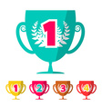 Flat Design Winning Cups Set vector image