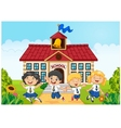 Happy school kids in front of school bilding vector image