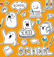 Set sticker doodle characters and school supplies vector image