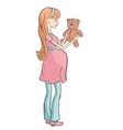 Pregnant young woman chooses toy for your baby vector image