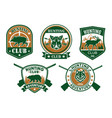 hunting club sporting badge set design vector image vector image
