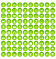 100 communication icons set green circle vector image vector image