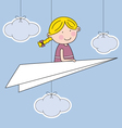 girl flying a paper airplane vector image