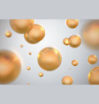 abstract background with glossy golden spheres vector image