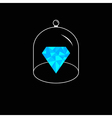 Blue polygonal diamond Glass bell cover cap Half vector image