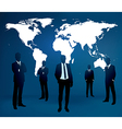 Businessman are standing in front of large world m vector image