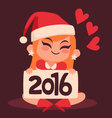 Christmas Girl Holding a 2016 New Year Sign vector image