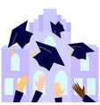 graduates throwing graduation hats in the air with vector image
