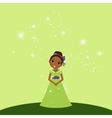 Beautiful cartoon princess on green background vector image