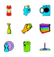 cleaner icons set cartoon style vector image